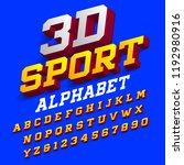 3d sport alphabet font. three... | Shutterstock .eps vector #1192980916