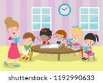 teacher and school kids in... | Shutterstock .eps vector #1192990633