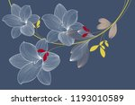abstract  hand drawn floral... | Shutterstock .eps vector #1193010589