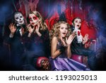 halloween. group of children in ... | Shutterstock . vector #1193025013