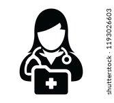 doctor icon vector female... | Shutterstock .eps vector #1193026603