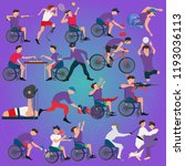 graphic of disabled athletes... | Shutterstock .eps vector #1193036113