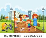people at the park illustration | Shutterstock .eps vector #1193037193