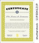 yellow certificate or diploma... | Shutterstock .eps vector #1193041219