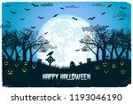 halloween night with lanterns... | Shutterstock .eps vector #1193046190
