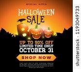 boo  halloween sale banner... | Shutterstock .eps vector #1193049733
