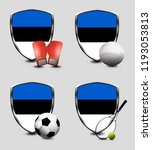 estonia shield. sports items | Shutterstock . vector #1193053813