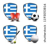 greece shield. sports items | Shutterstock . vector #1193053816