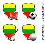 lithuania shield. sports items | Shutterstock . vector #1193053840