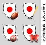 japan shield. sports items | Shutterstock . vector #1193053846