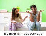 woman and man in the bedroom... | Shutterstock . vector #1193054173