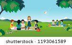 boys and girls are eating... | Shutterstock .eps vector #1193061589
