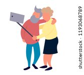 old people couple make selfie.... | Shutterstock . vector #1193068789