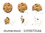 Small photo of Steps of chocolate chip cookie being devoured. Isolated on white background.