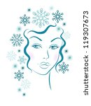 winter girl with blue... | Shutterstock .eps vector #119307673