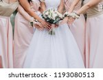bridesmaids in pink dresses ... | Shutterstock . vector #1193080513