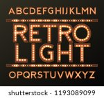 retro  aphabet with bulb lamps  ... | Shutterstock .eps vector #1193089099