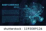 baby carriage made of particles ... | Shutterstock .eps vector #1193089126