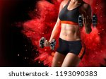 fitness woman lifting weights... | Shutterstock .eps vector #1193090383