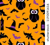seamless pattern with halloween ... | Shutterstock .eps vector #1193091616