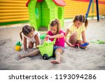funny summer day. three little... | Shutterstock . vector #1193094286