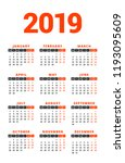 calendar for 2019 year on white ... | Shutterstock .eps vector #1193095609