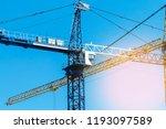 construction crane tower on...   Shutterstock . vector #1193097589