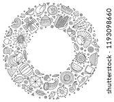 line art vector hand drawn set... | Shutterstock .eps vector #1193098660