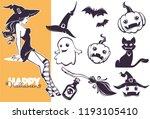 happy halloween line art... | Shutterstock .eps vector #1193105410