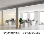 stylish wood and white wall... | Shutterstock . vector #1193110189