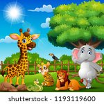 the animals are enjoying nature ... | Shutterstock . vector #1193119600
