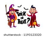 cartoon children witch and... | Shutterstock .eps vector #1193123320