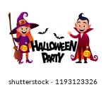 cartoon children witch and... | Shutterstock .eps vector #1193123326