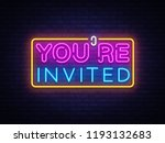 you're invited neon text vector ... | Shutterstock .eps vector #1193132683