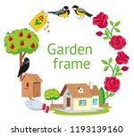 garden round frame cartoon... | Shutterstock .eps vector #1193139160