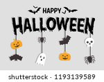 happy halloween text banner... | Shutterstock .eps vector #1193139589
