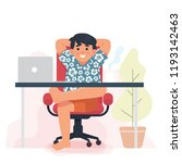 man enjoy work from home ...   Shutterstock .eps vector #1193142463