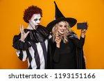 happy beautiful blonde witch... | Shutterstock . vector #1193151166