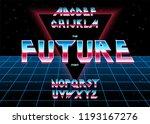 alphabet 80's retro font.vector ...   Shutterstock .eps vector #1193167276