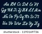 white neon script. uppercase... | Shutterstock .eps vector #1193169736