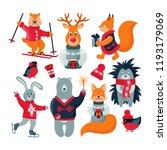 set of winter forest animals... | Shutterstock .eps vector #1193179069