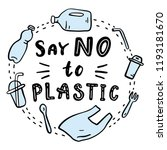 say no to plastic. ... | Shutterstock .eps vector #1193181670