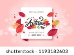 autumn leaves background.... | Shutterstock .eps vector #1193182603
