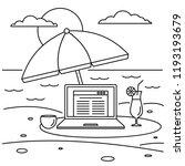 freelancer notebook beach... | Shutterstock .eps vector #1193193679