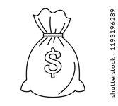 money bag sack icon. outline...   Shutterstock .eps vector #1193196289