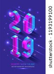 new year 2019 in isometric... | Shutterstock .eps vector #1193199100