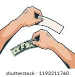 hand with a hundred dollar bill ... | Shutterstock .eps vector #1193211760