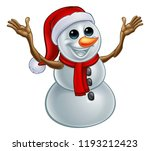 a snowman christmas cartoon... | Shutterstock .eps vector #1193212423