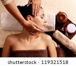 masseur doing massage on woman... | Shutterstock . vector #119321518