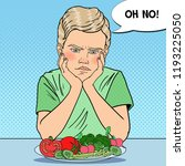 upset child with plate of fresh ... | Shutterstock .eps vector #1193225050